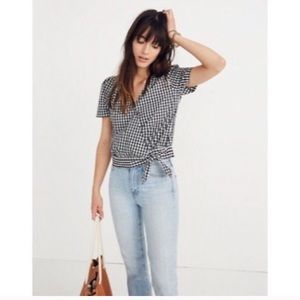 Madewell Checkered Side Tie Shirt
